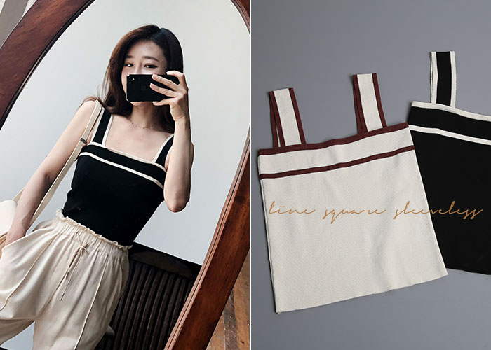 *MD추천* line square sleeveless