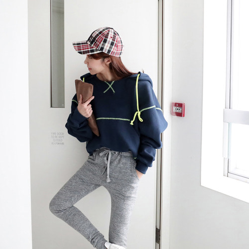 *cageXsomething* sica stitch hood T *navy*