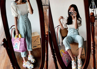 *MD추천* button strap overall