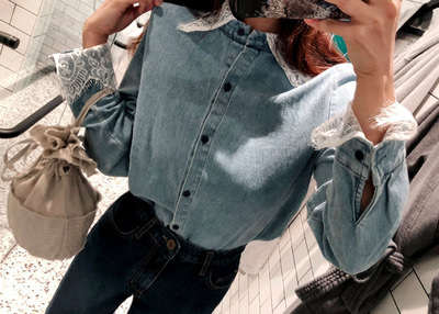 *MD추천* crown lace denim NB