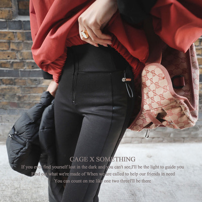 *cage X something* dark zipper leather leggings