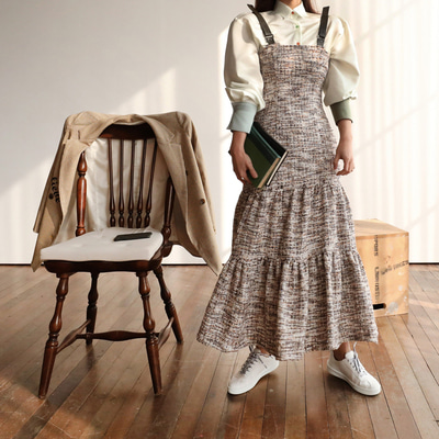 *lucky7%*designer line* tweed overall OPS