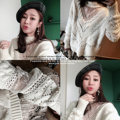 *품절*High quality*HK* sleeveless lace knit