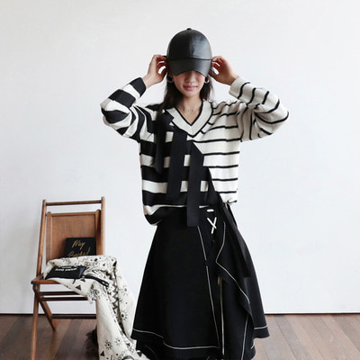 *HK* stripe drop knit