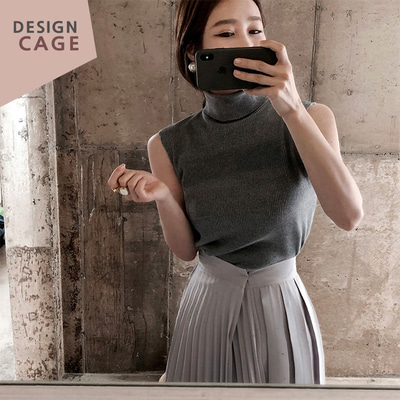 *designer line* sleeveless pola knit *grey*