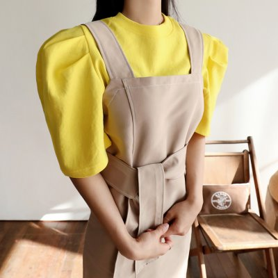 color shoulder puff T