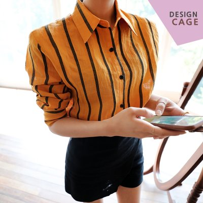 *designer line* on stripe linen SH *yellow*
