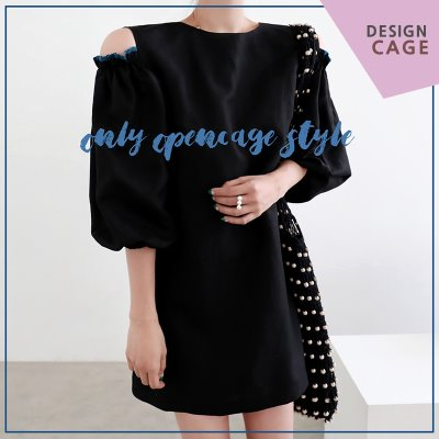 *lucky7%*designer line* color frill OPS *black*