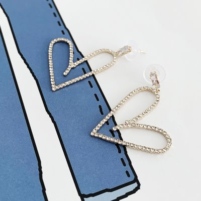 slim heart earring